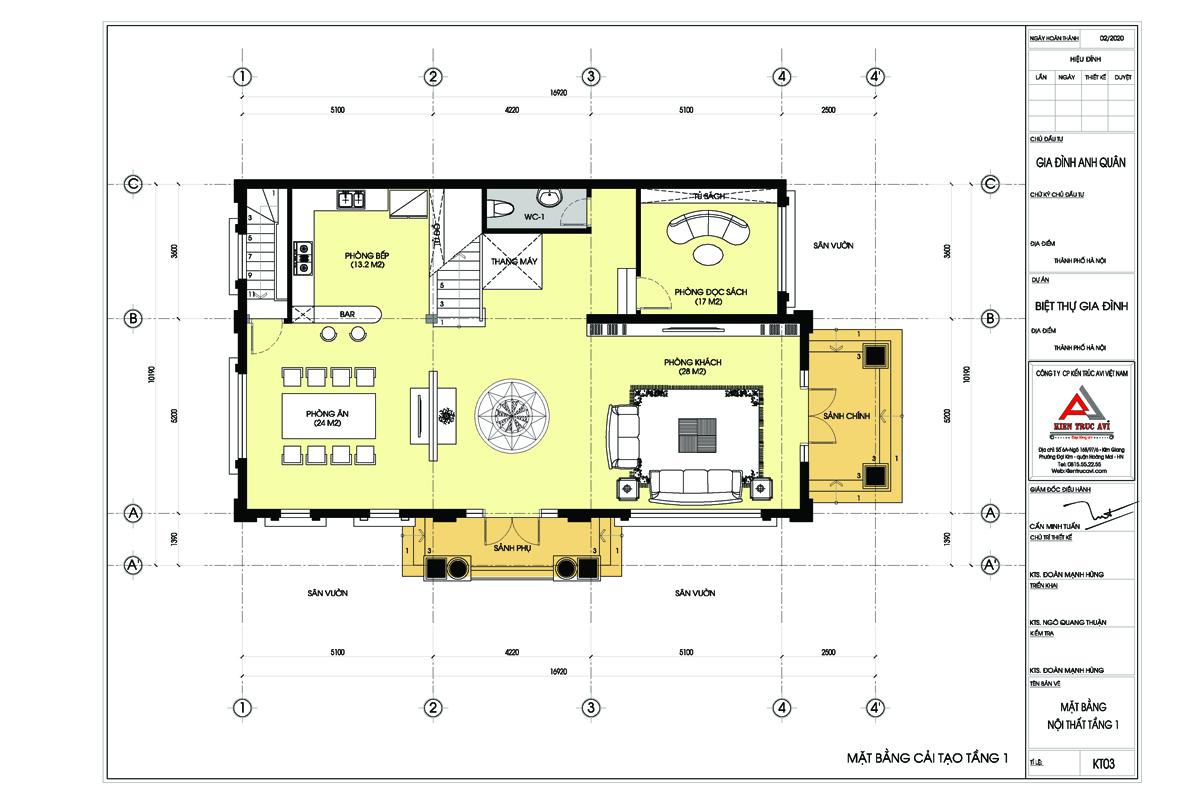 Mặt bằng tầng 1 biệt thự 4 tầng tân cổ điển