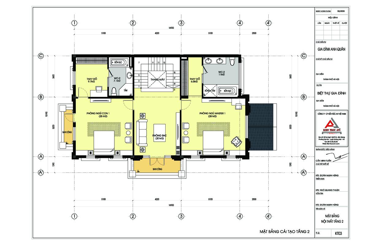Mặt bằng tầng 2 biệt thự 4 tầng tân cổ điển