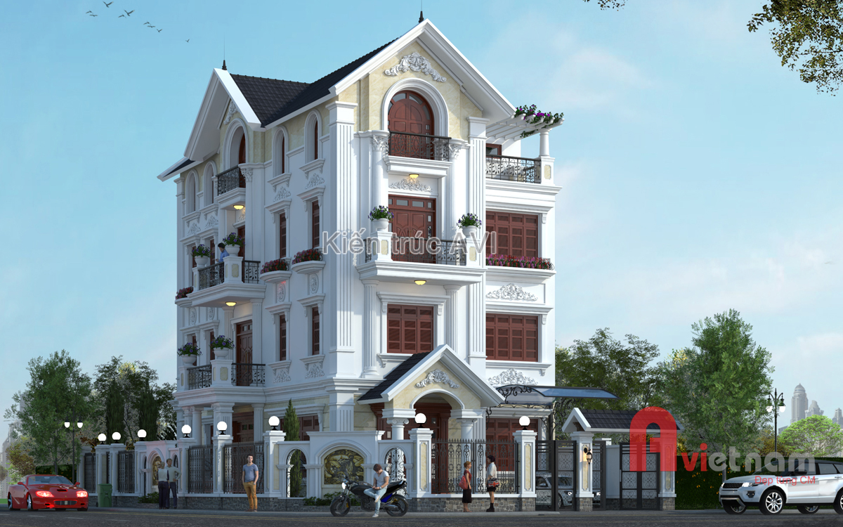 Thiết kế cải tạo biệt thự 4 tầng tân cổ điển