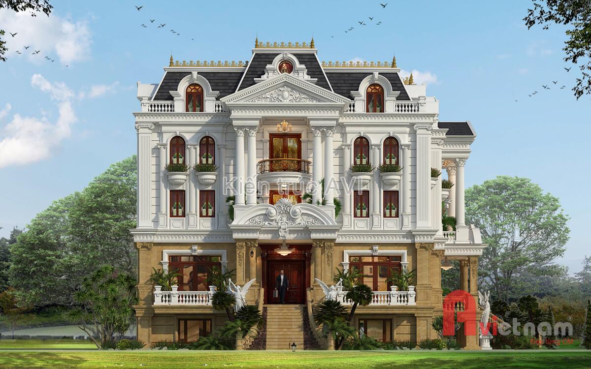 Thiết kế dinh thự cao cấp kiến trúc cổ điển pháp mái mansard
