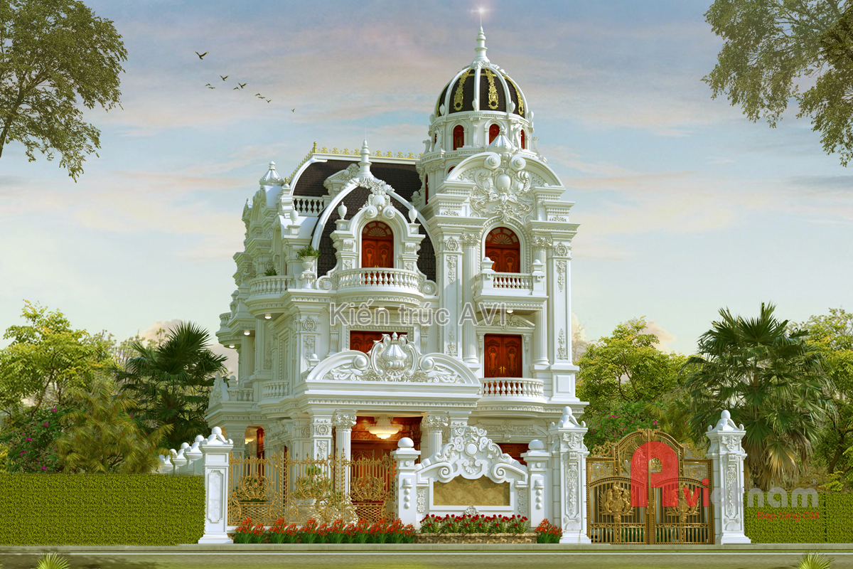 Thiết kế lâu đài cao cấp kiến trúc pháp tại Bình Dương