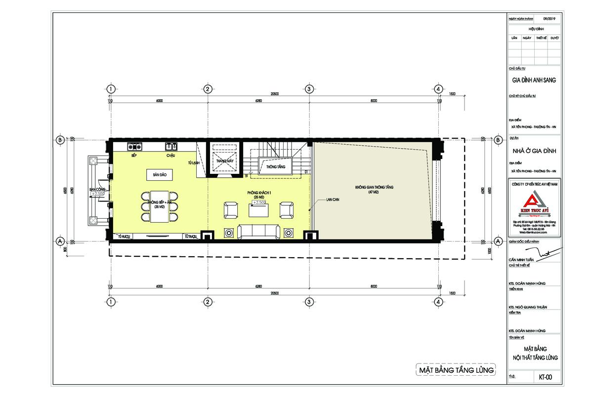Mặt bằng tầng lửng mẫu thiết kế nhà phố cổ điển