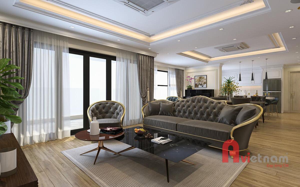 Thiết kế nội thất chung cư tân cổ điển sang trọng nhẹ nhàng