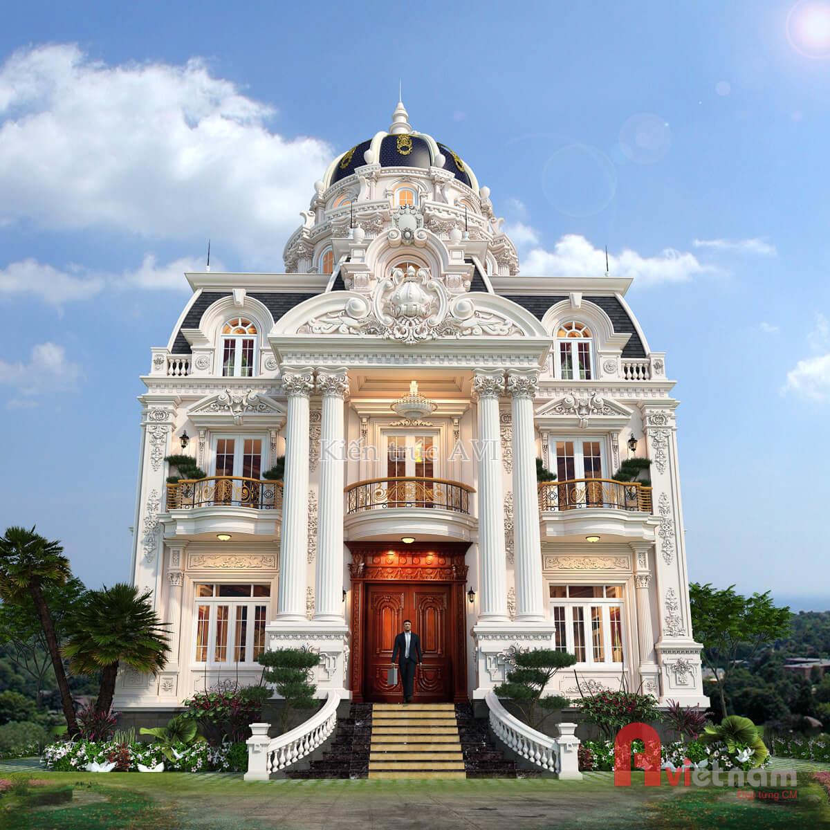 Thiết kế biệt thự 4 tầng kiến trúc cổ điển châu Âu