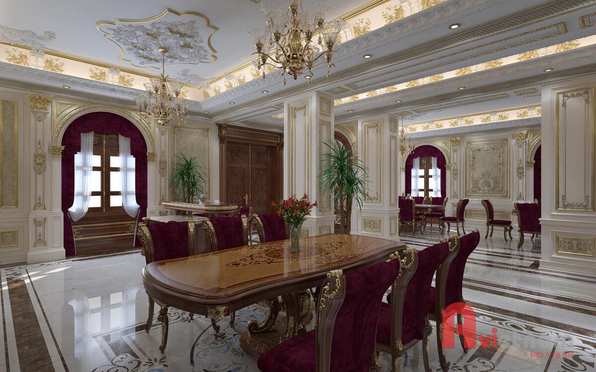 Nội thất phòng bếp - phòng ăn với phong cách cổ điển