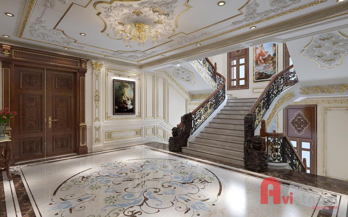 Nội thất sảnh chờ cầu thang phong cách cổ điển