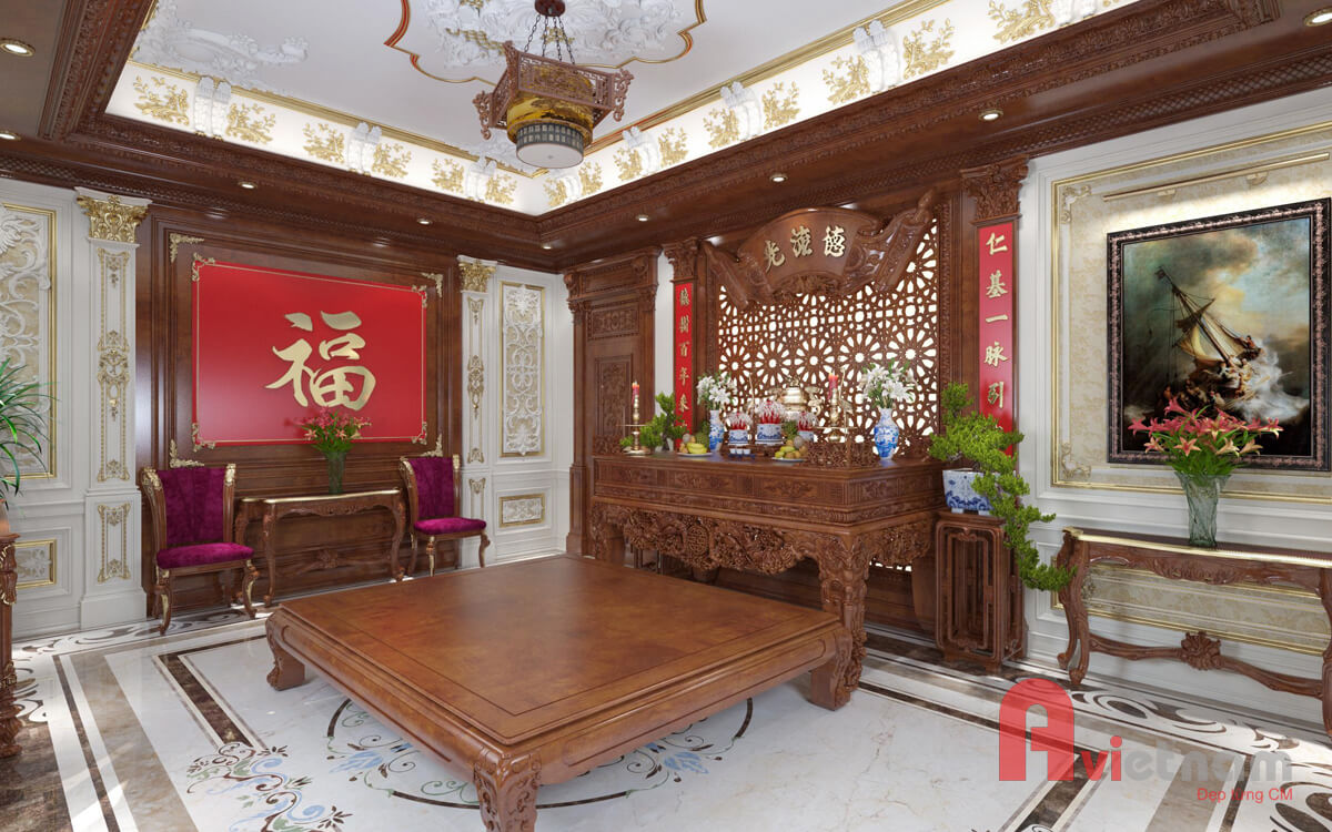 Nội thất phòng thờ với phong cách cổ điển