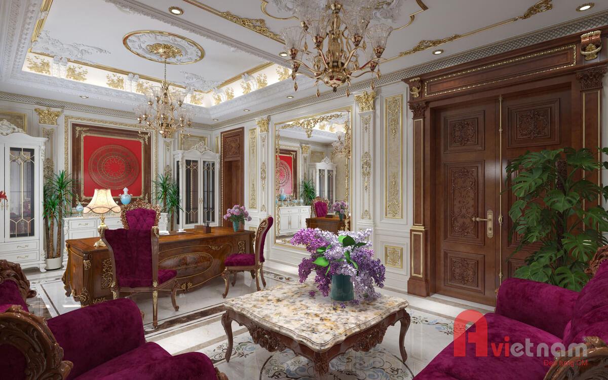 Nội thất phòng khách với phong cách cổ điển