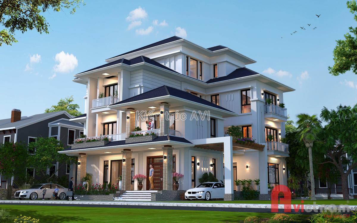 Mẫu thiết kế biệt thự 4 tầng kiến trúc hiện đại với mái thái
