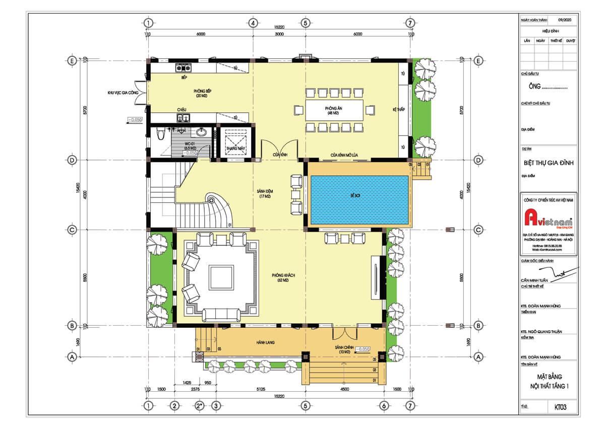 Mặt bằng tầng 1 biệt thự 4 tầng kiến trúc hiện đại