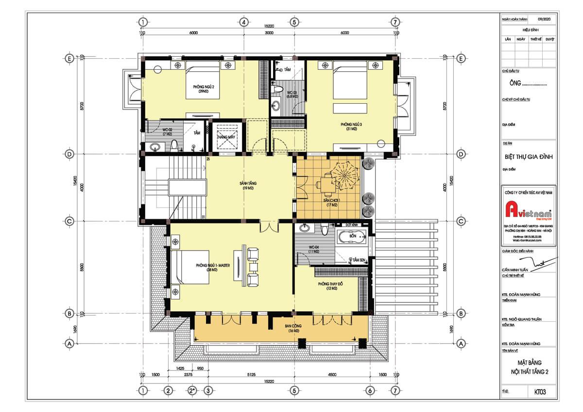 Mặt bằng tầng 2 biệt thự 4 tầng kiến trúc hiện đại
