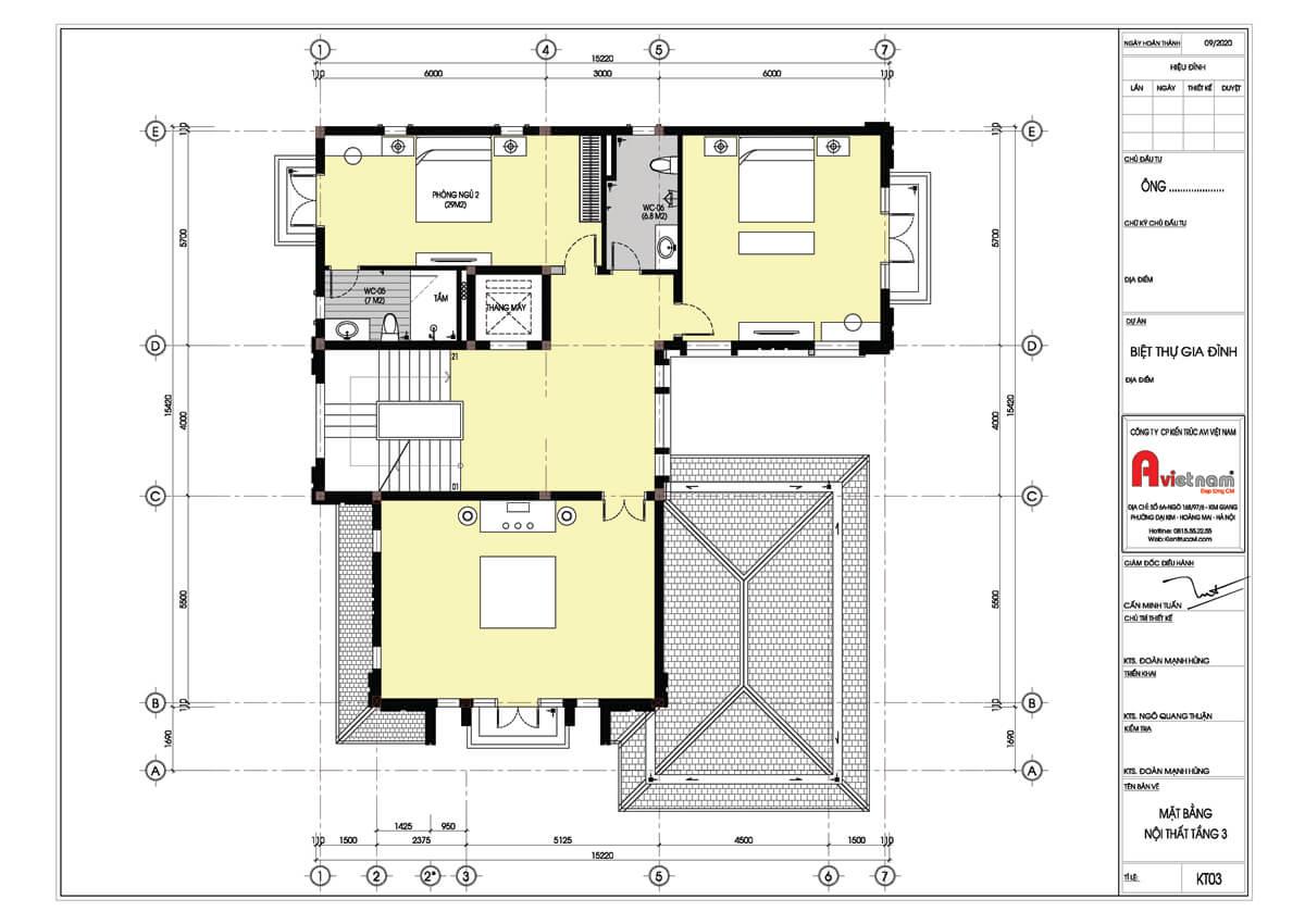 Mặt bằng tầng 3 biệt thự 4 tầng kiến trúc hiện đại