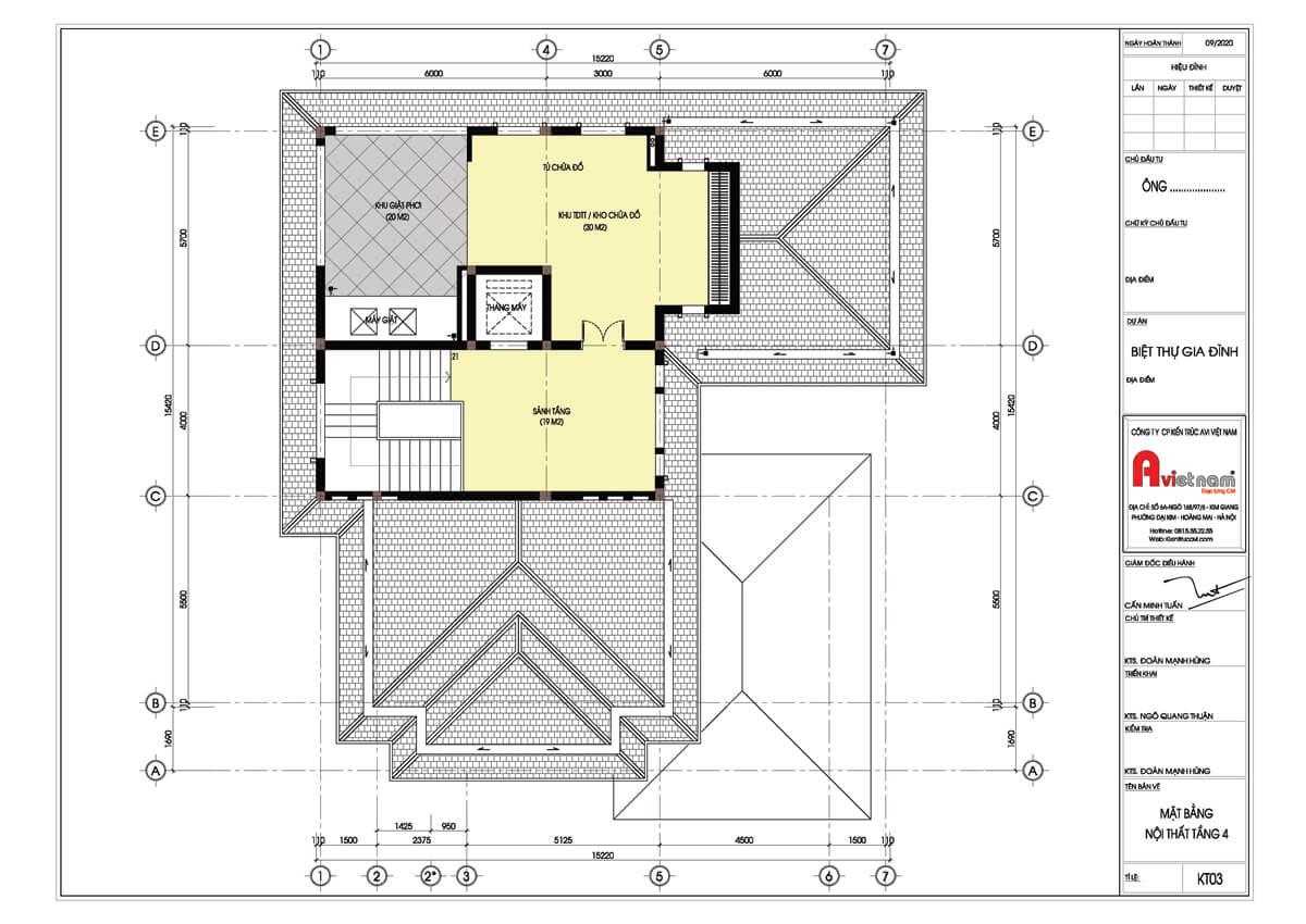 Mặt bằng tầng 4 biệt thự 4 tầng kiến trúc hiện đại