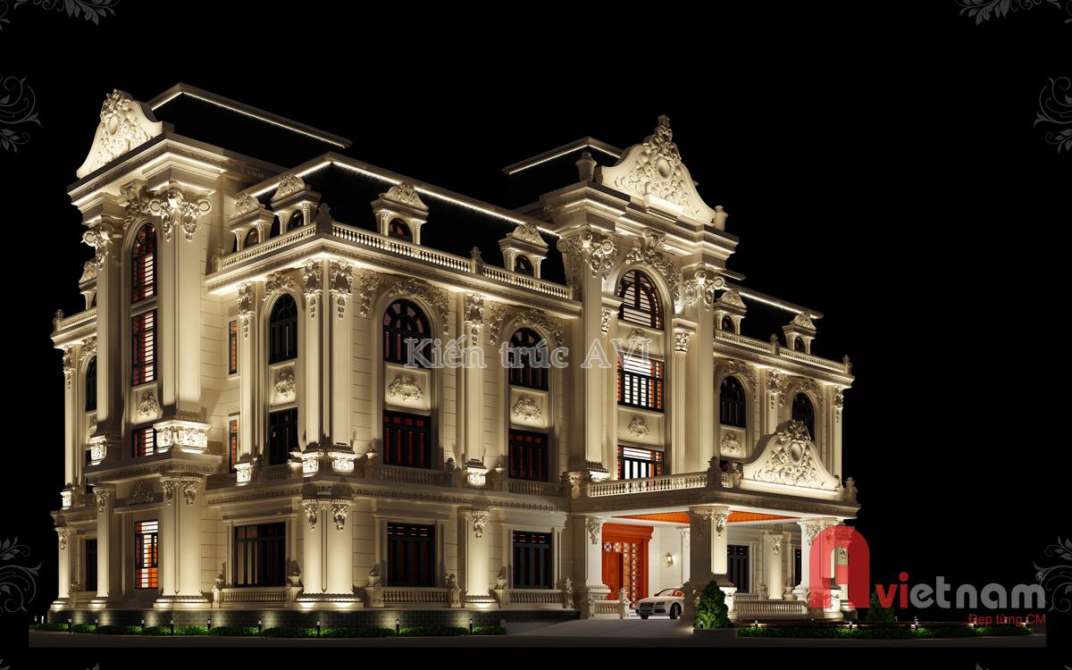 Mẫu thiết kế dinh thự cao cấp mái mansard tại Quảng Ninh