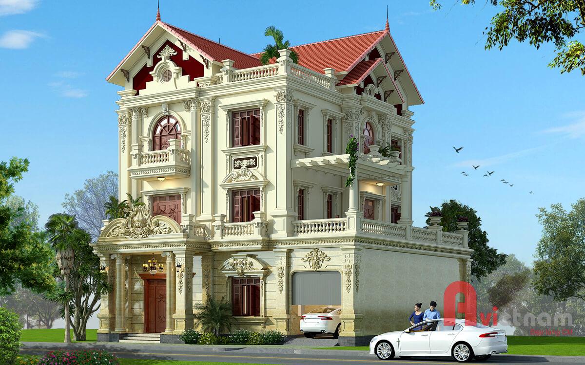 Mẫu thiết kế biệt thự 3 tầng kiến trúc pháp tại Thanh Hóa