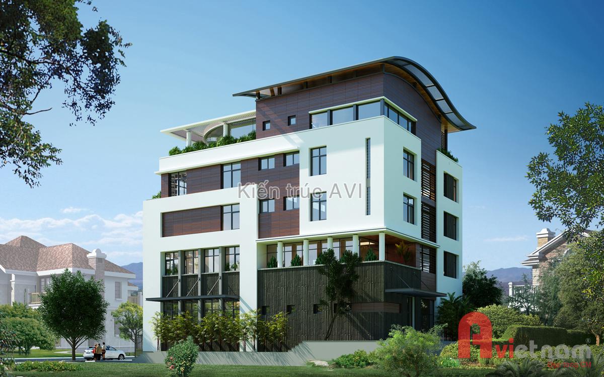 Mẫu thiết kế biệt thự hiện đại 5 tầng
