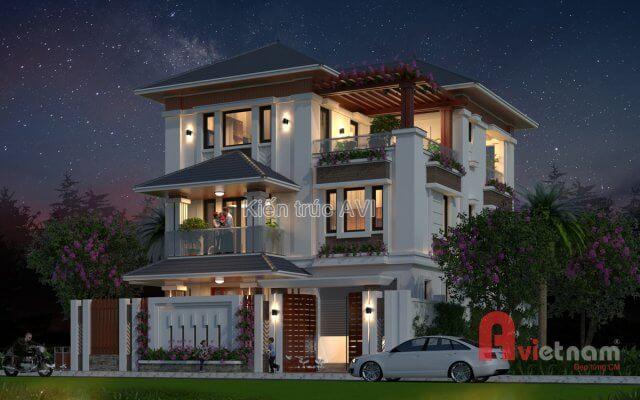 Thiết kế biệt thự hiện đại 3 tầng kiểu mái thái tại Tây Ninh
