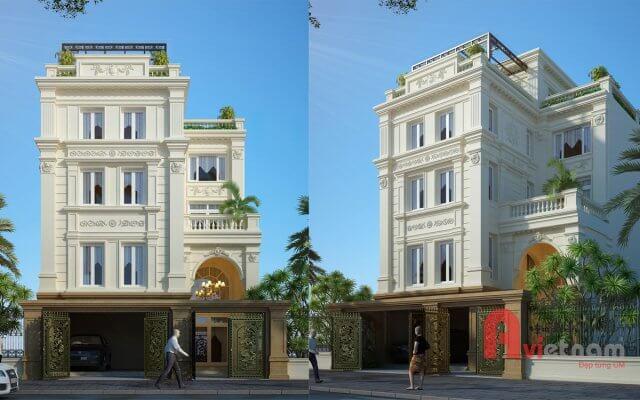 Thiết kế nhà phố cổ điển kiến trúc Pháp tại Hà Nội