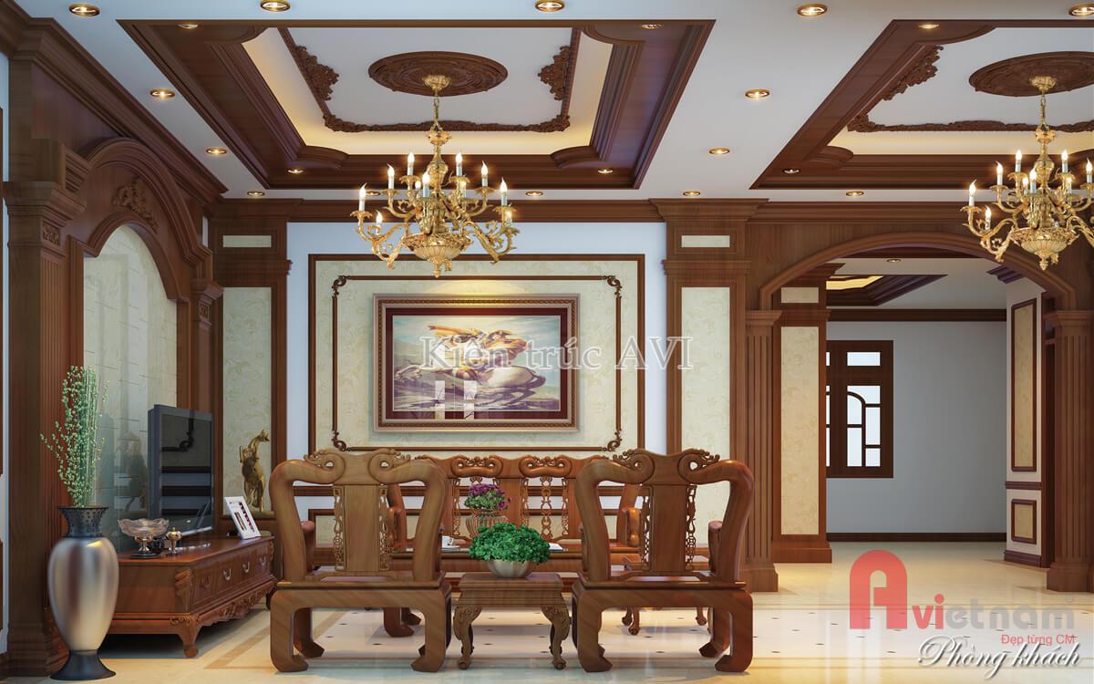 Mẫu nội thất phòng khách tân cổ điển gỗ tự nhiên NT20026