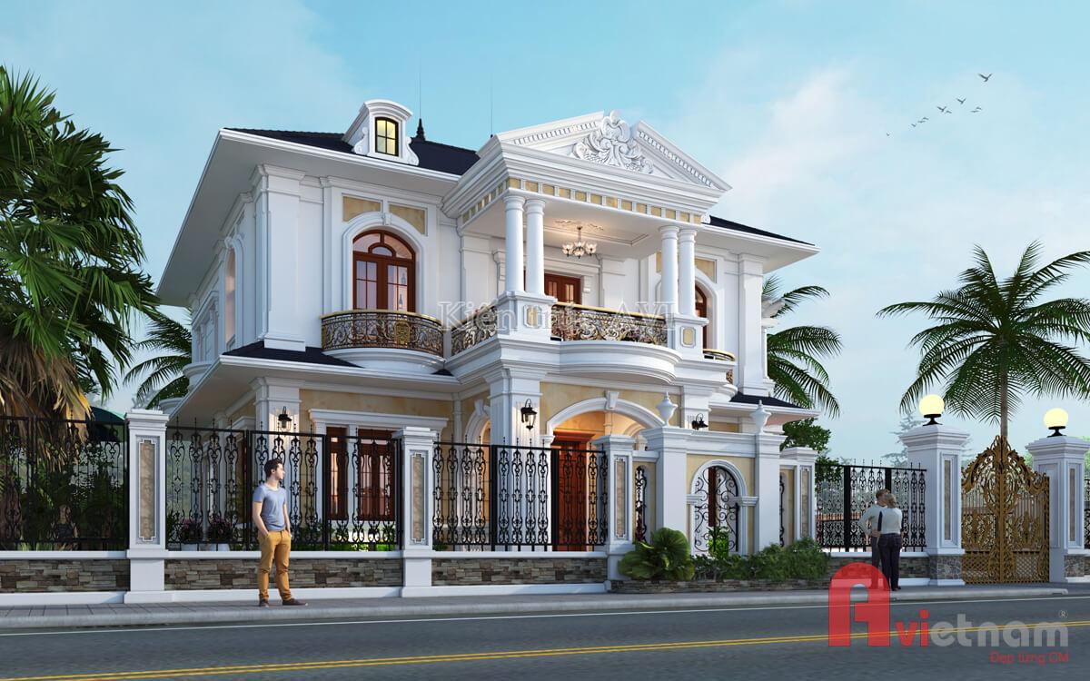 Thiết kế biệt thự 2 tầng tân cổ điển, mái thái