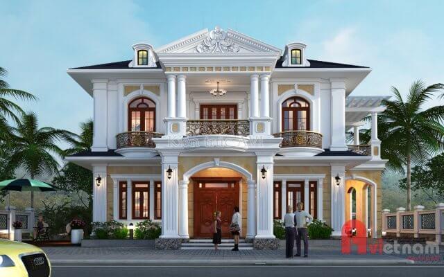 Thiết kế biệt thự 2 tầng tân cổ điển, mái thái ở Lâm Đồng