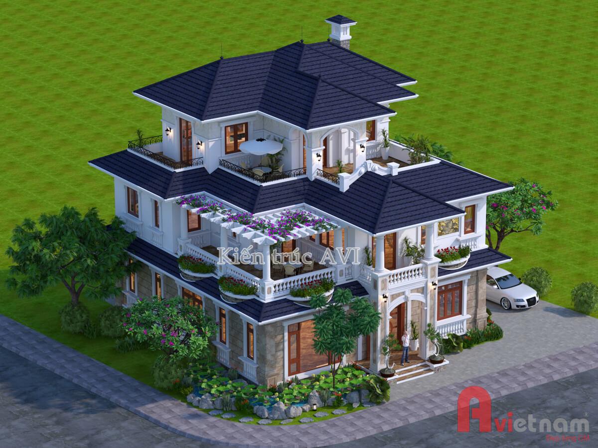 Biệt thự 3 tầng kiểu mái thái mang phong cách tân cổ điển