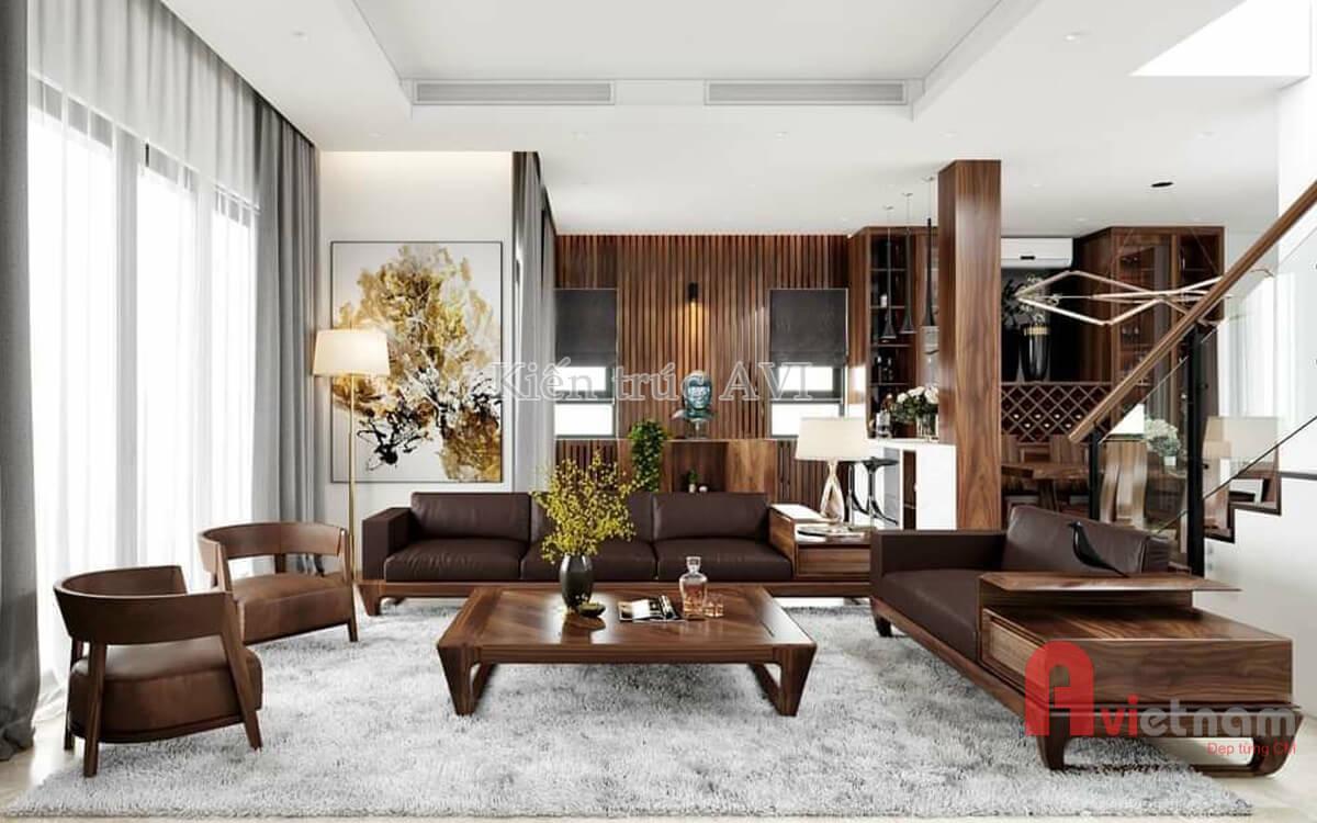 Mẫu thiết kế nội thất hiện đại gỗ óc chó cao cấp cho Vinhome