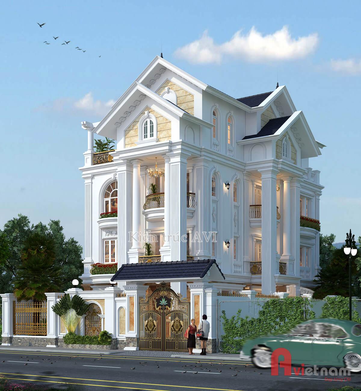 Mẫu biệt thự 4 tầng tân cổ điển, mái thái