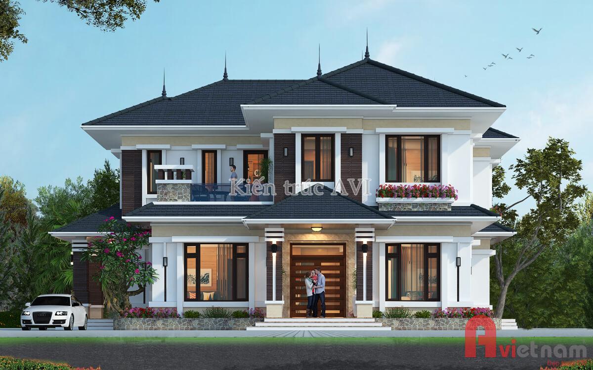 Thiết kế biệt thự 2 tầng, kiểu mái thái mang phong cách hiện đại
