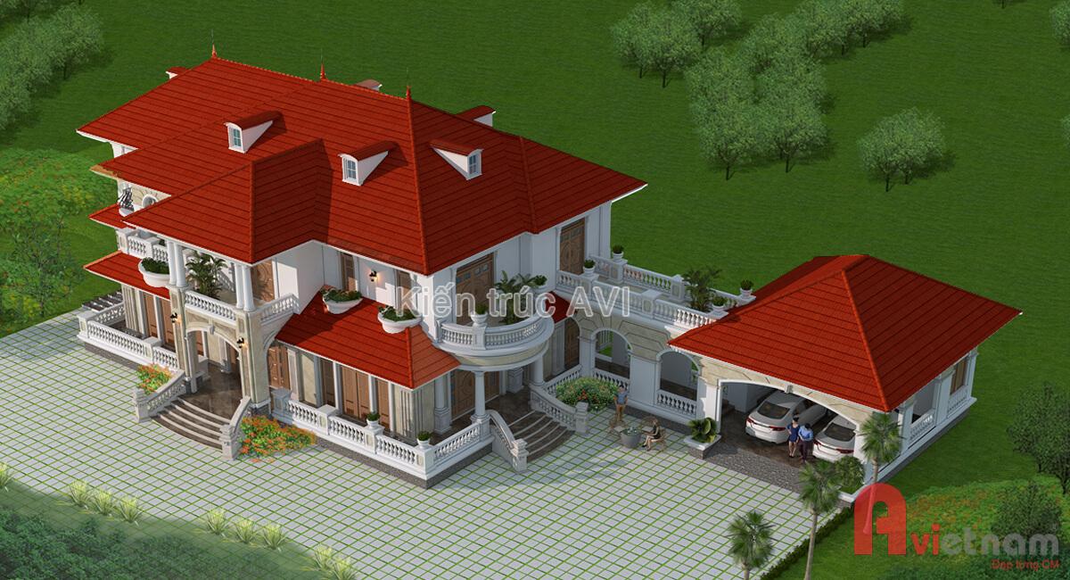 Mẫu thiết kế biệt thự 2 tầng tân cổ điển