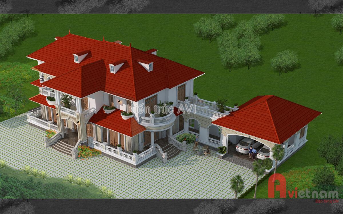 Mẫu thiết kế biệt thự 2 tầng tân cổ điển mái thái ở Vũng Tàu