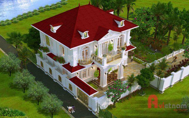 Mẫu thiết kế biệt thự 2 tầng tân cổ điển mái thái ở Tây Ninh