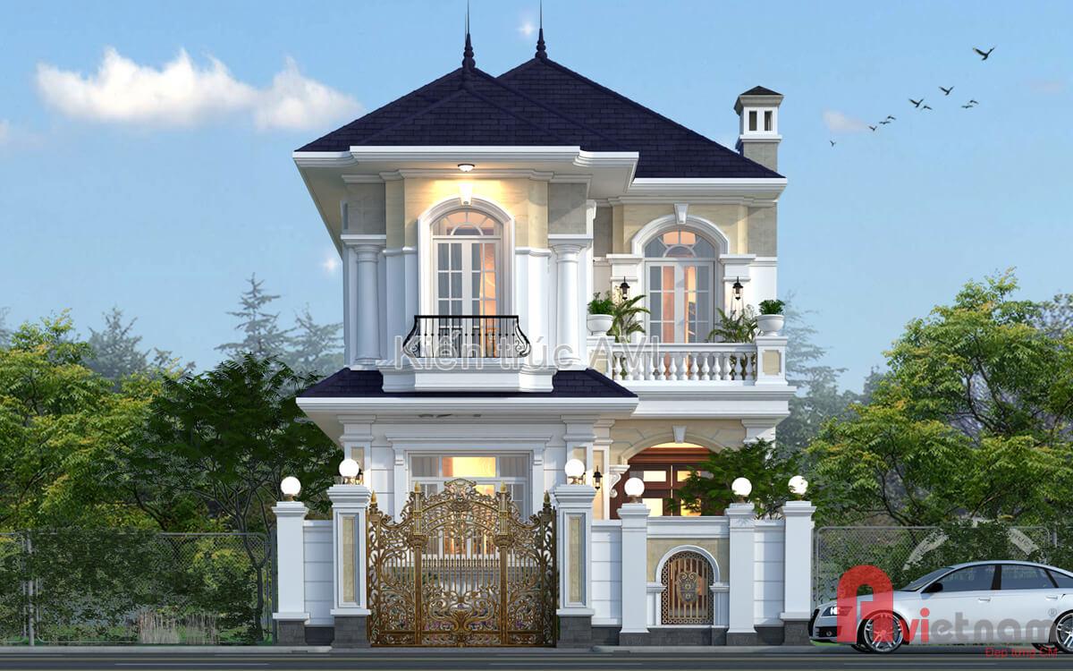 Mẫu thiết kế biệt thự 2 tầng tân cổ điển mái thái