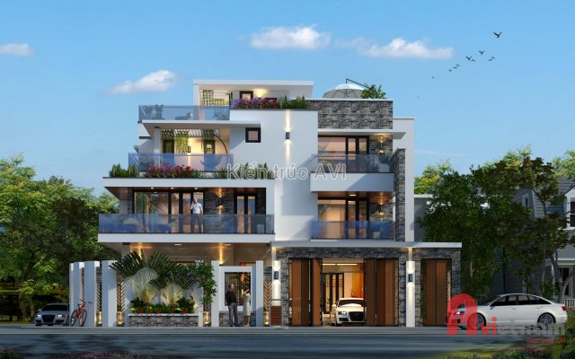 Mẫu thiết kế biệt thự 4 tầng hiện đại mái bằng