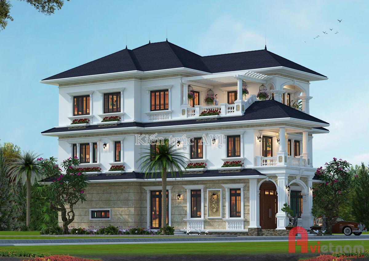 Thiết kế biệt thự 3 tầng tân cổ điển, mái thái