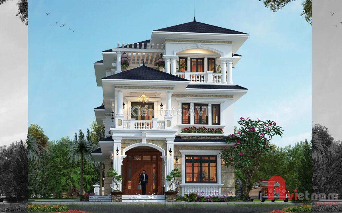 Thiết kế biệt thự 3 tầng tân cổ điển, mái thái tại Bắc Ninh