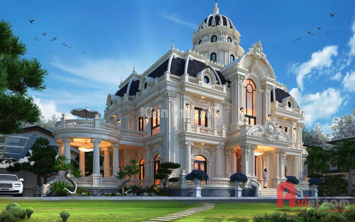 Mẫu thiết kế dinh thự cao cấp kiến trúc cổ điển châu Âu