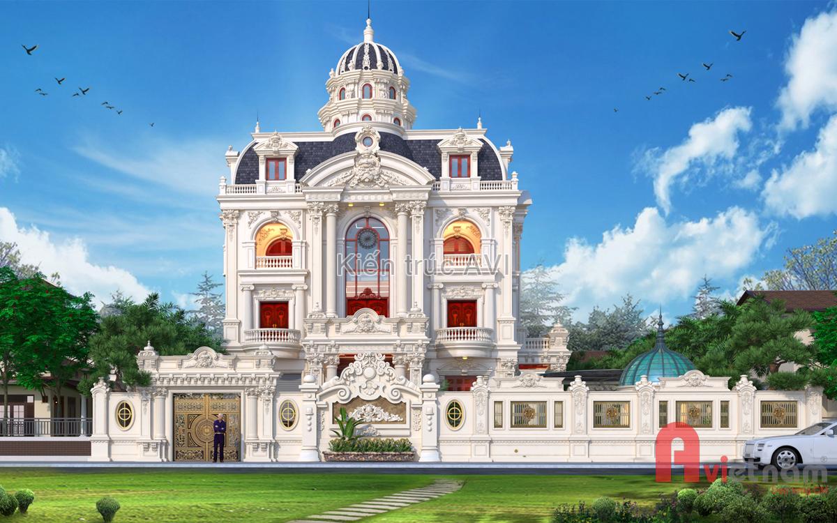 Mẫu thiết kế lâu đài cao cấp mái Mansard