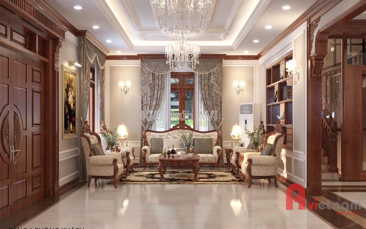 Mẫu thiết kế nội thất tân cổ điển gỗ tự nhiên tại Hà Nội