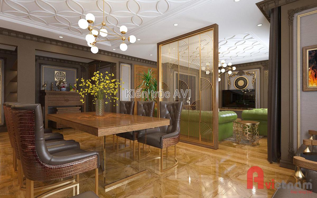 Mẫu thiết kế nội thất phòng bếp - phòng ăn chung cư tân cổ điển