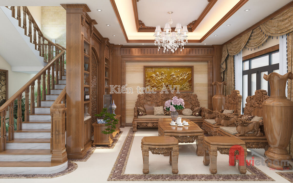 Mẫu thiết kế nội thất tân cổ điển gỗ tự nhiên cho biệt thự