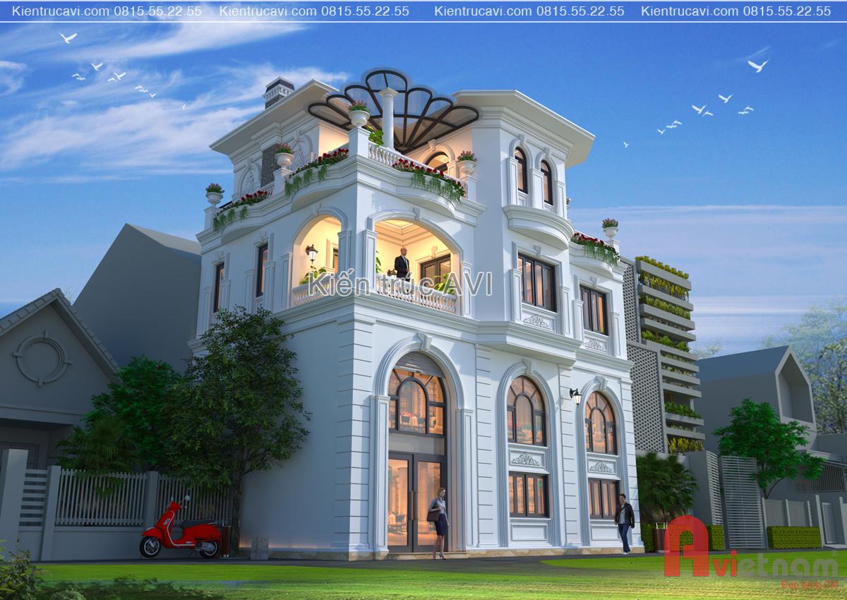 Thiết kế biệt thự 4 tầng tân cổ điển