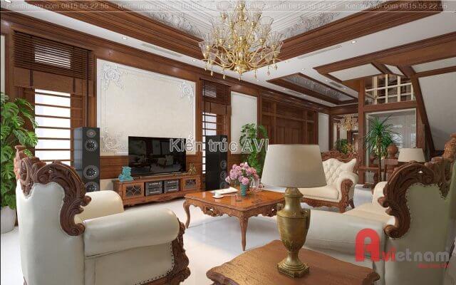 Mẫu thiết kế nội thất tân cổ điển gỗ tự nhiên