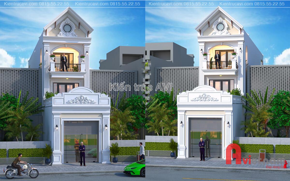 Mẫu thiết kế nhà phố tân cổ điển mái thái kết hợp kinh doanh