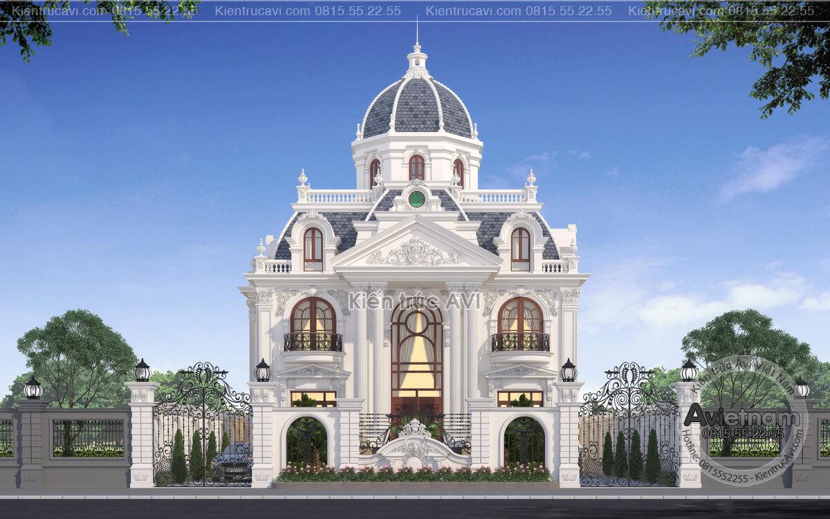 Mẫu biệt thự 3 tầng kiến trúc cổ điển châu ÂU KT21014