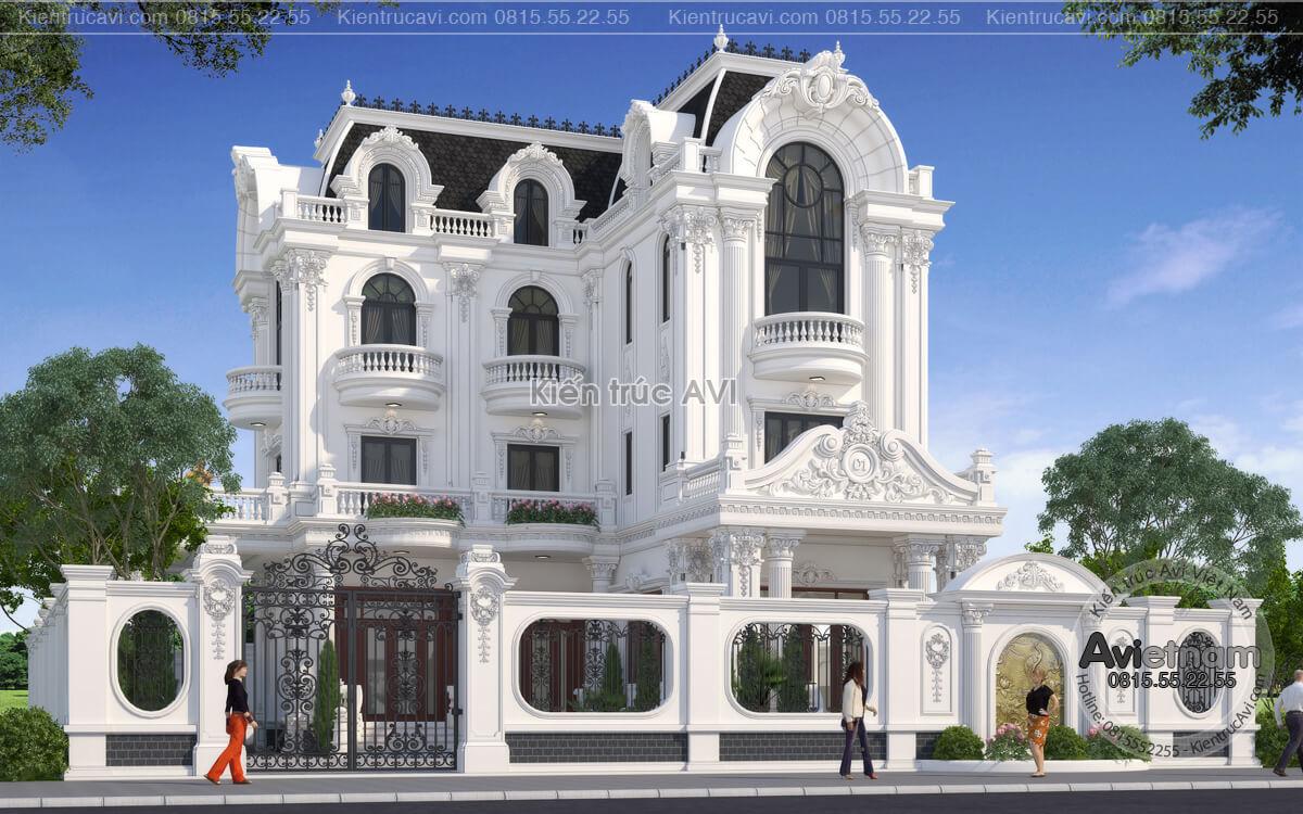 Vẻ đẹp lộng lẫy của mẫu biệt thự 4 tầng cổ điển Pháp KT21013