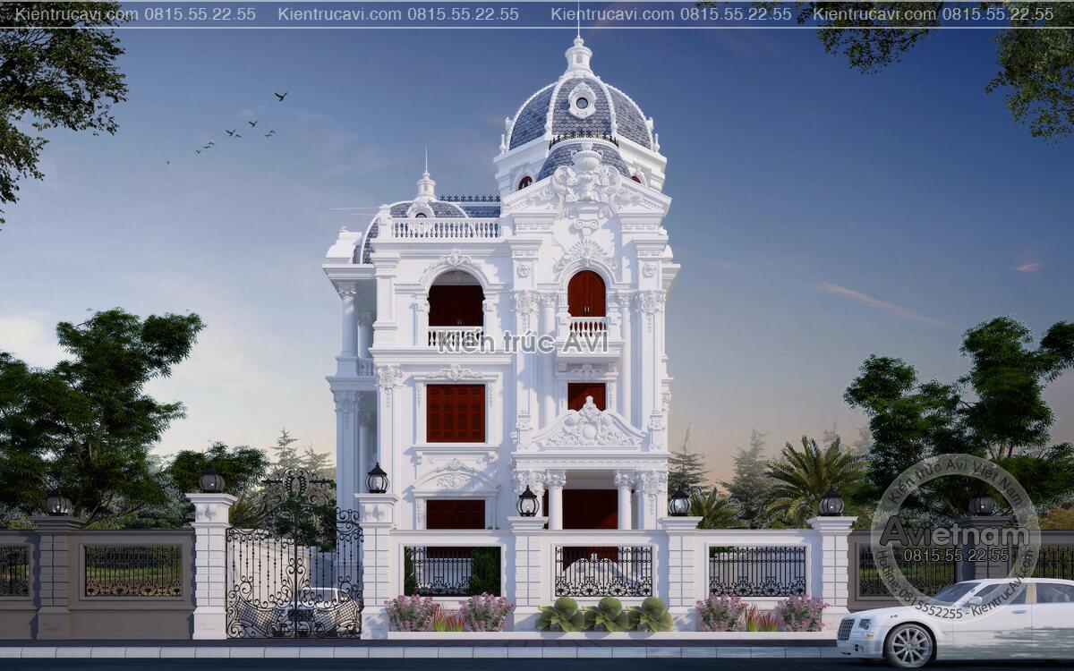 Mẫu thiết kế biệt thự 4 tầng cổ điển Pháp sang trọng KT21011