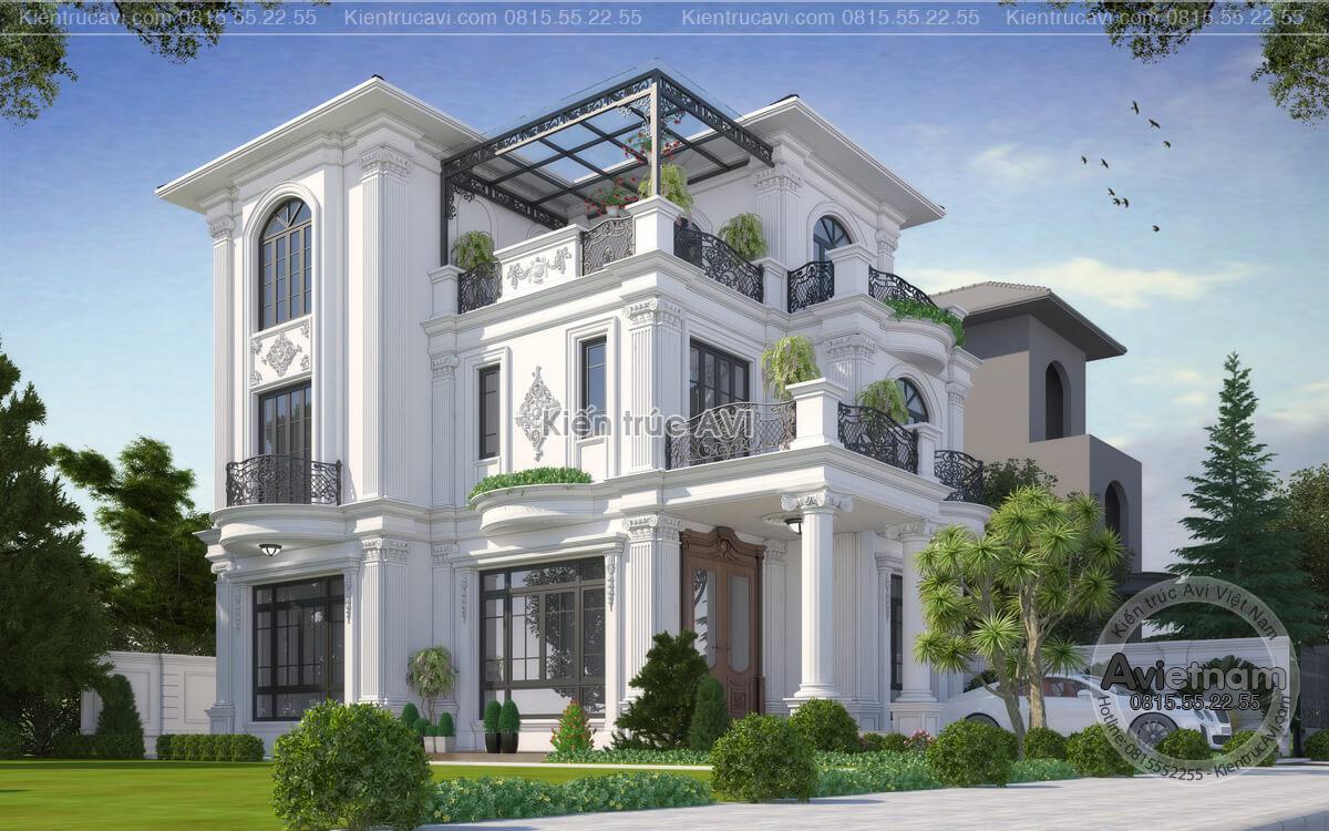Mẫu thiết kế biệt thự 3 tầng tân cổ điển châu Âu đẹp tinh tế KT19049