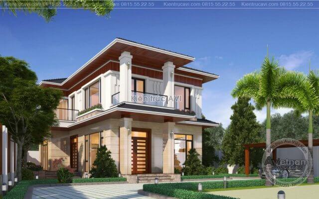 Mẫu thiết kế biệt thự vườn 2 tầng kiến trúc hiện đại KT21020