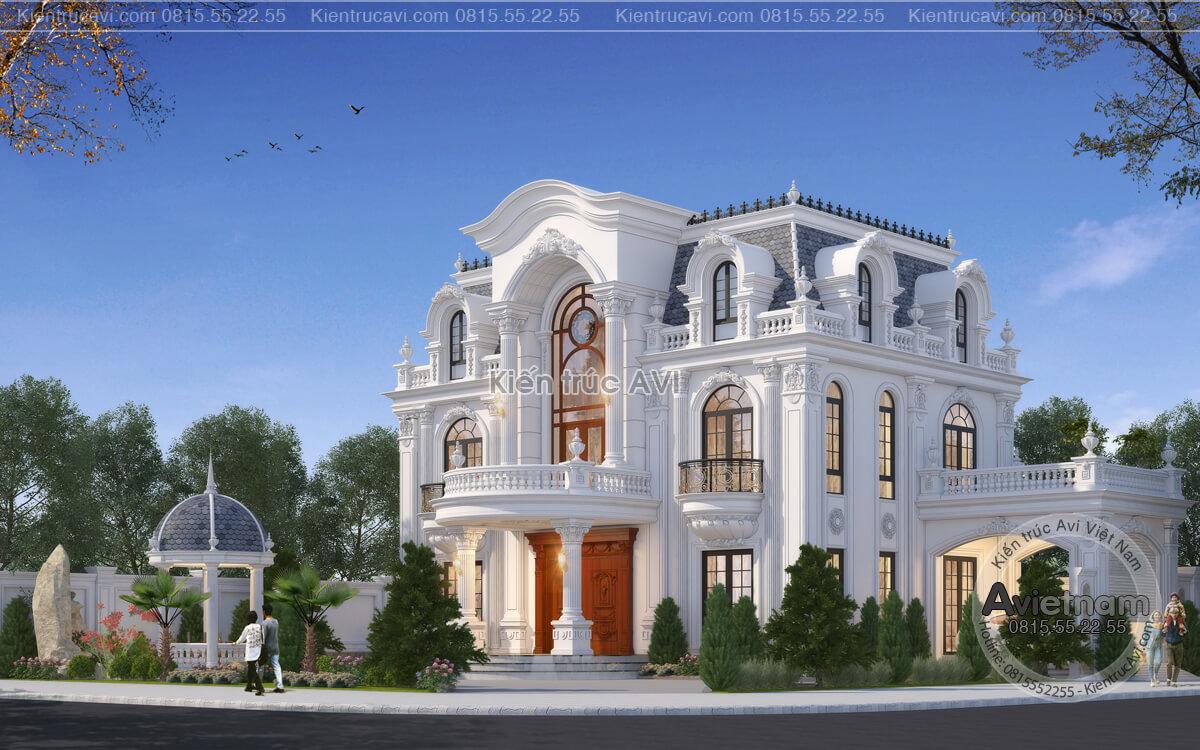 Thiết kế biệt thự 3 tầng kiến trúc Pháp với sân vườn xanh mát KT21015